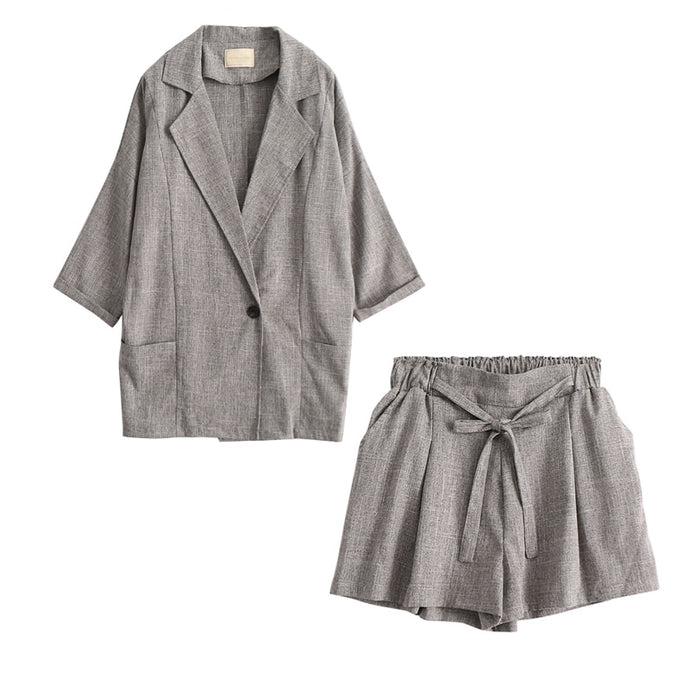 European Style Office Blazer With Drawstring Shorts