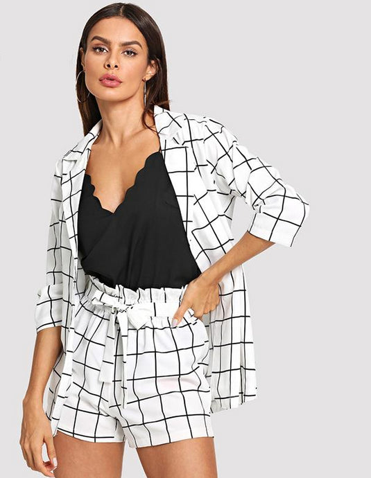 Plaid Notched Blazer With Self Tie Waist Shorts