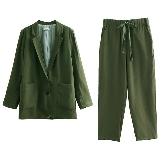 Solid Blazer With High Waist Harem Pants