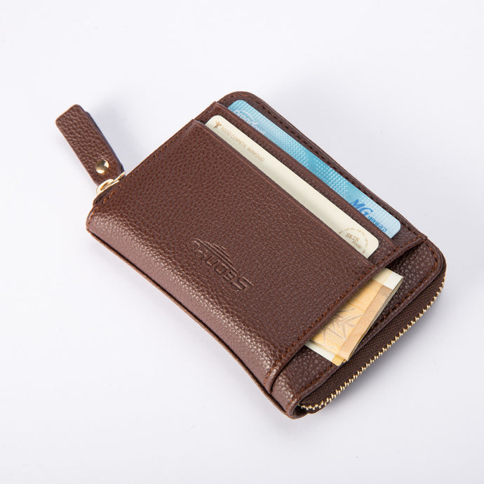 Leather Zipper Money Bag