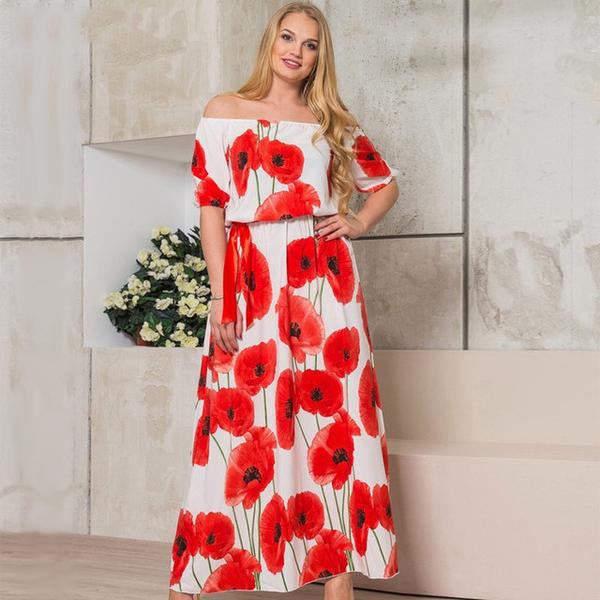 Lotus Print Off Shoulder Maxi Dresses