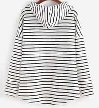 Striped Hooded Pullover Sweatshirt