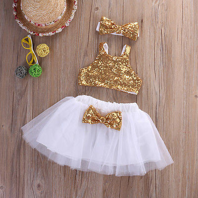 Cute Sequins Tops Clothing Set
