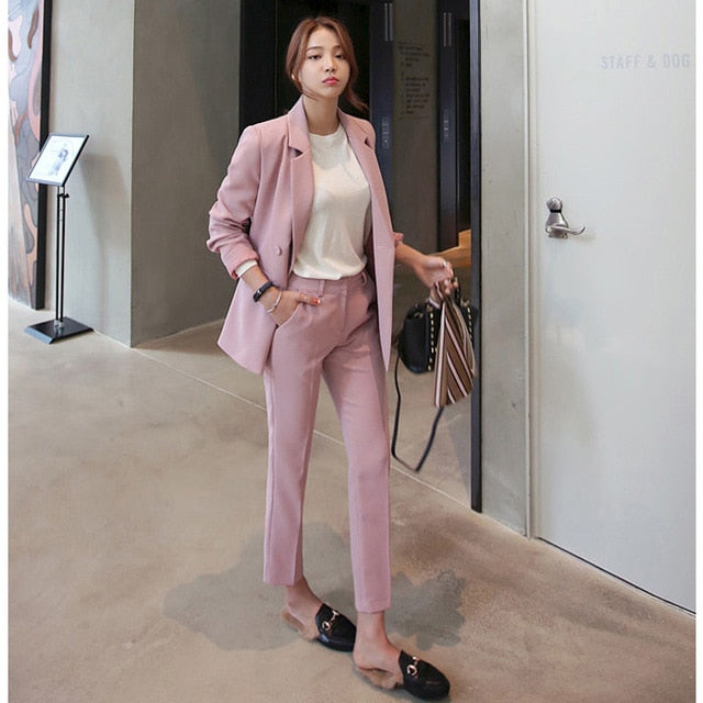 2 Piece Set Blazer High Waist Pants