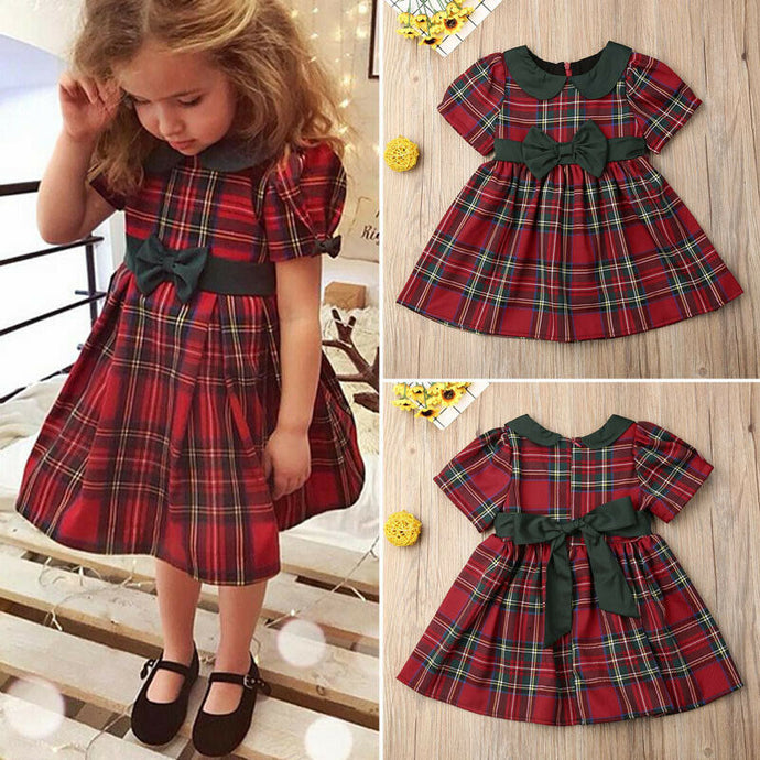 Red Cotton Plaid Dress