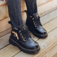 Leather Trend Plush Boots