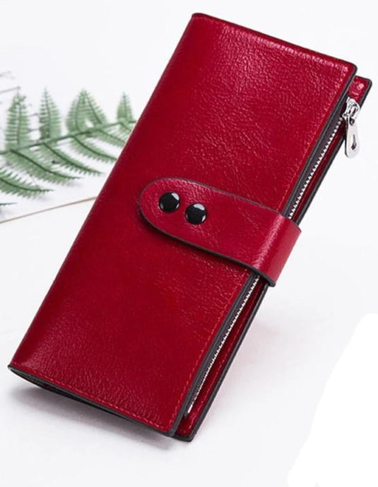Leather Hasp Long Wallet