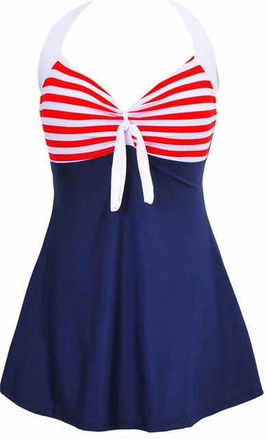 Sexy Stripe Padded Swimwear Dress