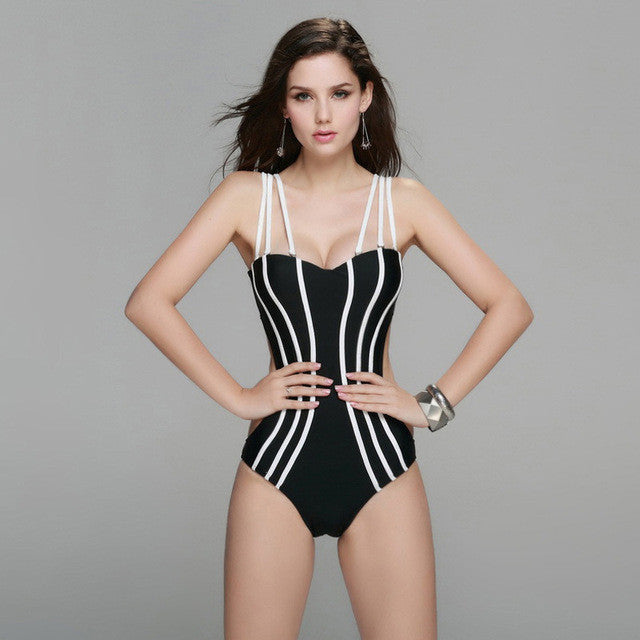 Sexy Push Up Strapless One Piece Swimsuit