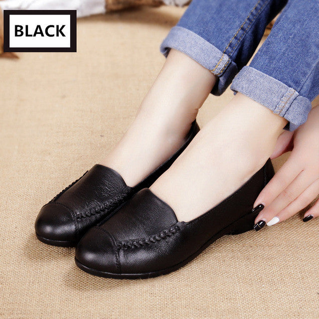 Casual Leather Flat Shoes