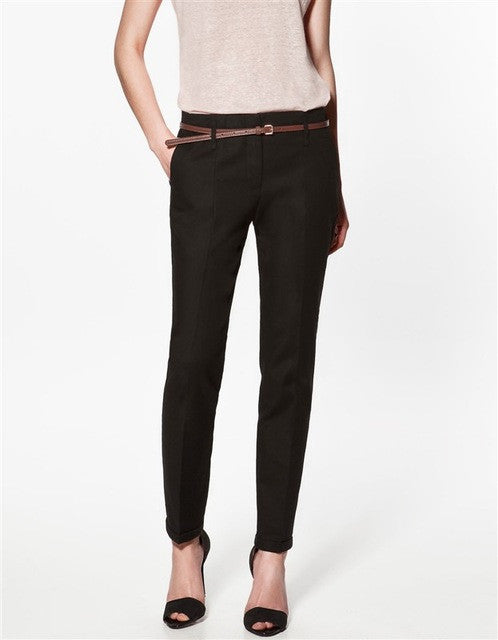 Casual Pencil Pants With Belt