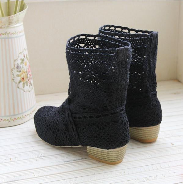 Crochet Lace Hollow Boots