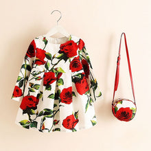 Winter Floral Print Dress with Bag