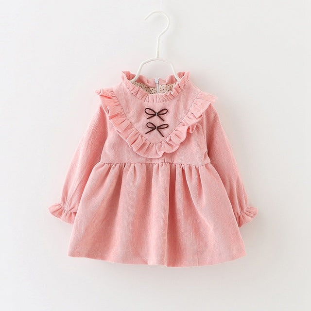 Bow Ruffles Long Sleeve Dress