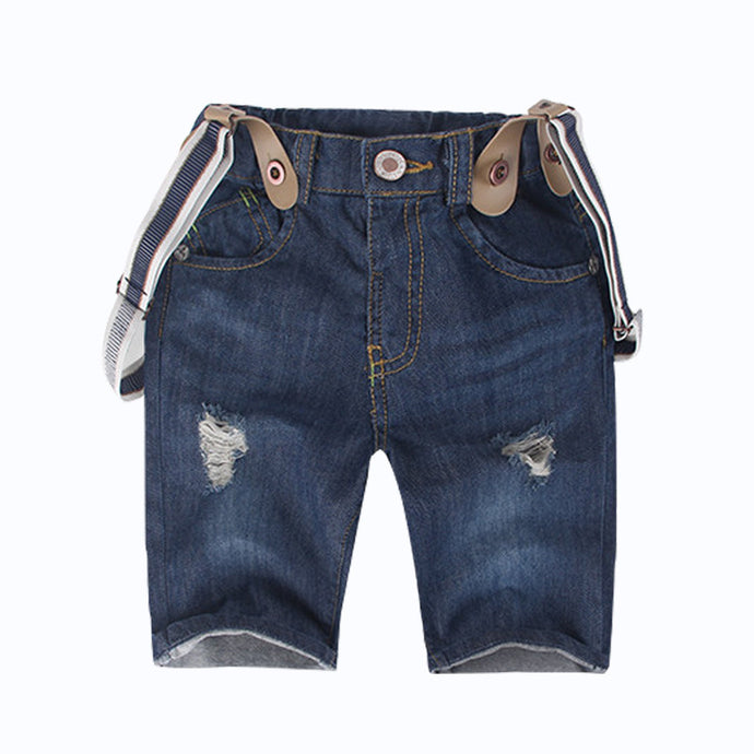 Torn Denim Overalls Shorts