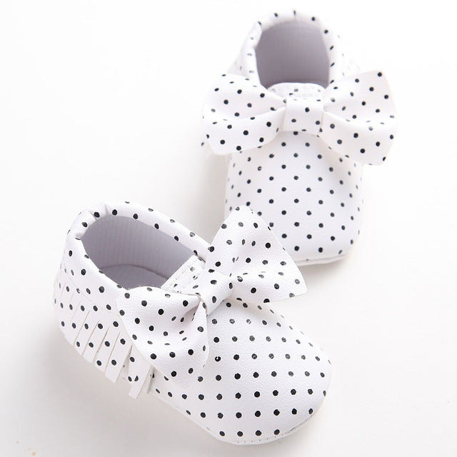 Polka Dots PU Leather Crib Shoes