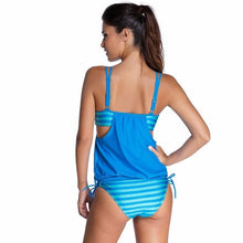 Stripe Cover Belly Swimsuit