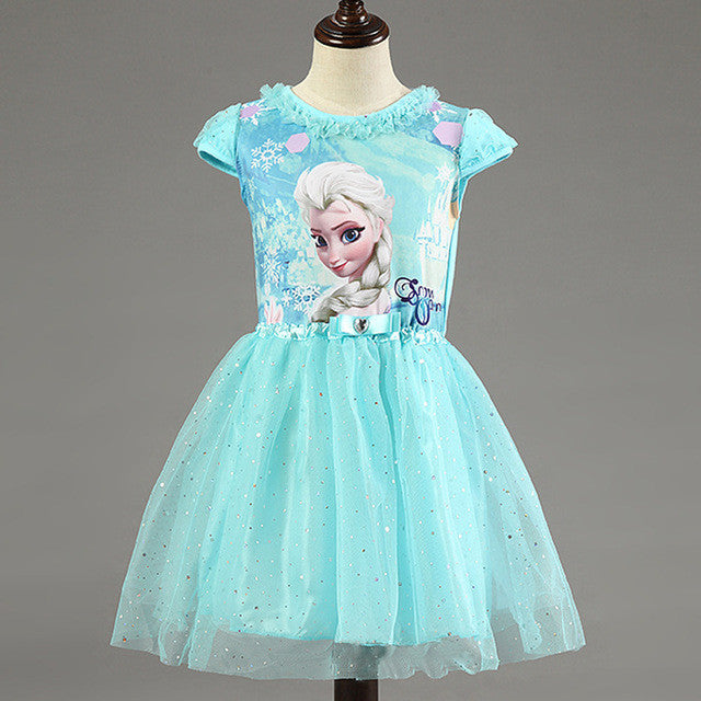 Cartoon Print Lace Sequins Dress