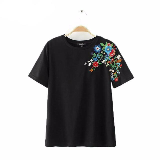 Sweet Flower Embroidery T Shirt
