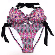 Floral Push Up Halter Bikini Set