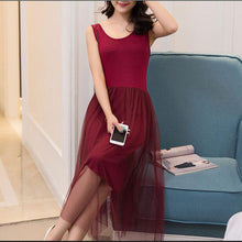 Causal Mesh Pleated Modal Vest Dress