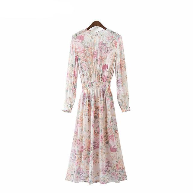 Sweet Floral Chiffon Dress