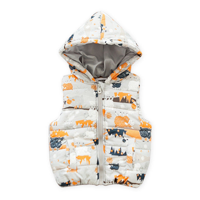 Cute Printed Vests Hooded Jacket