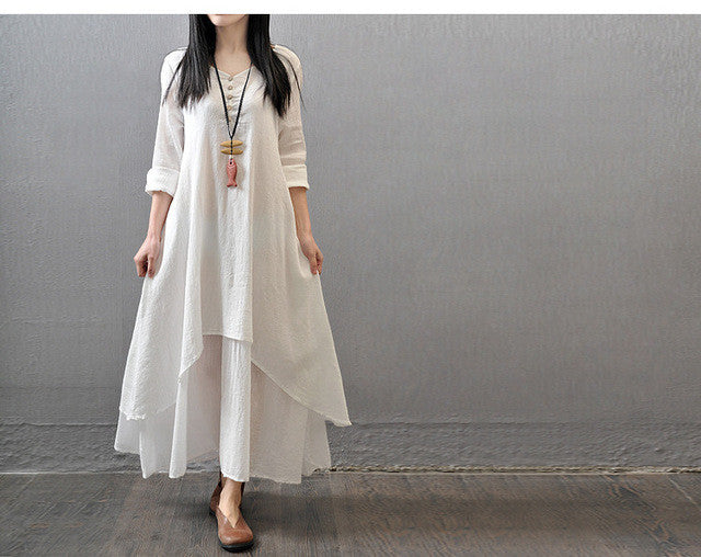 Two-piece Long Sleeve Loose Maxi Dress