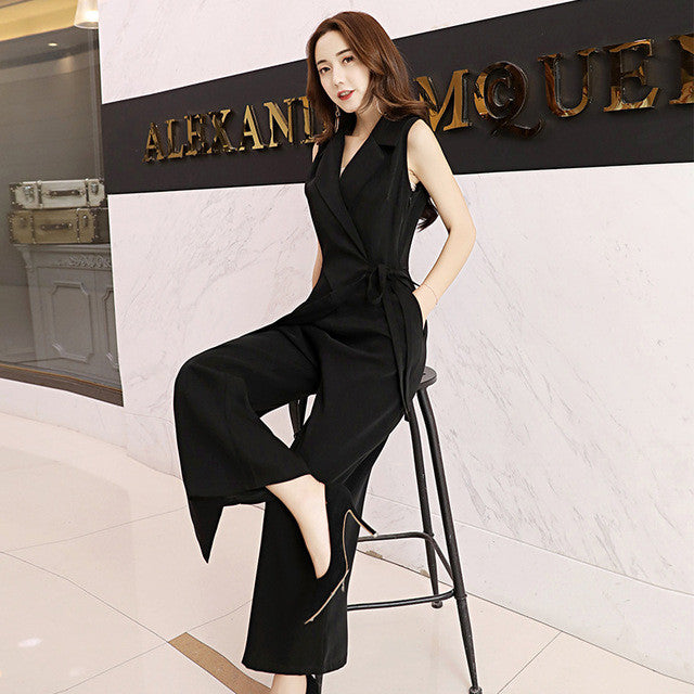 Casual Sleeveless Wide Leg Jumpsuits