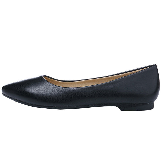 Pointed Toe Leather Flat Shoes