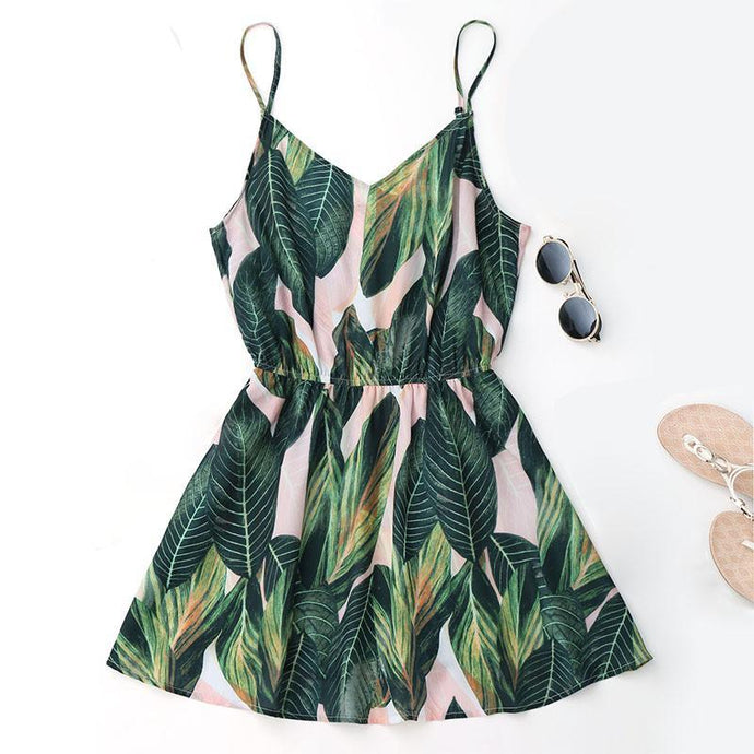Sexy Leaf Print Mini Beach Dress