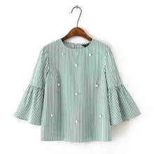Beading Striped Blouse