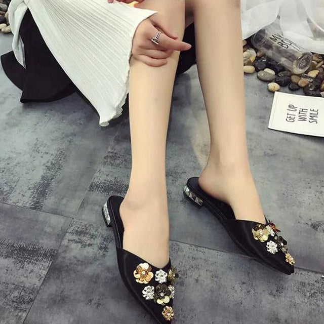 Casual Floral Sequined Leather Shoes