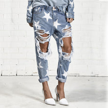 Five-Pointed Star Ripped Jeans