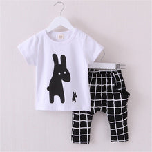 Cute Rabbit Plaid Clothing Set