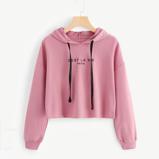 Solid Pullover Hooded Sweatshirt