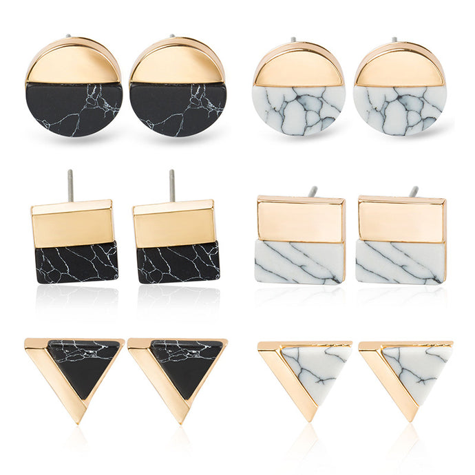 Marble Stone Pattern Stud Earrings
