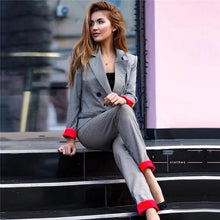 Cuffed Sleeve Plaid Blazer Suits