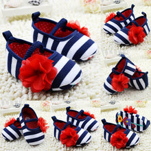Cute Flower Stripe Soft Sole Shoes