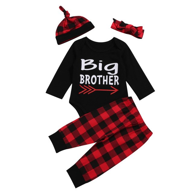 Plaid Cotton Romper Long Pants Set