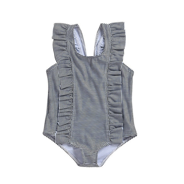 Striped Ruffles One Piece Swimwear