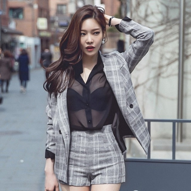 Winter Plus Size Plaid Blazer and Skirt