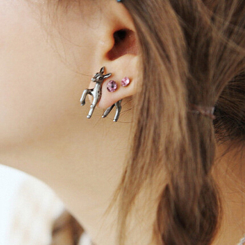 Women Earrings - Deer stud earrings