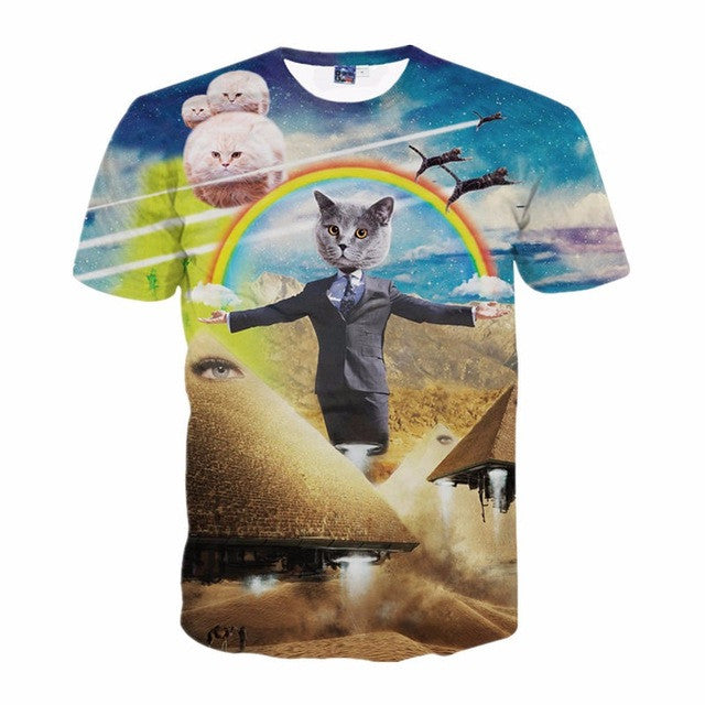 Unisex T-shirts - crazy 3D cat