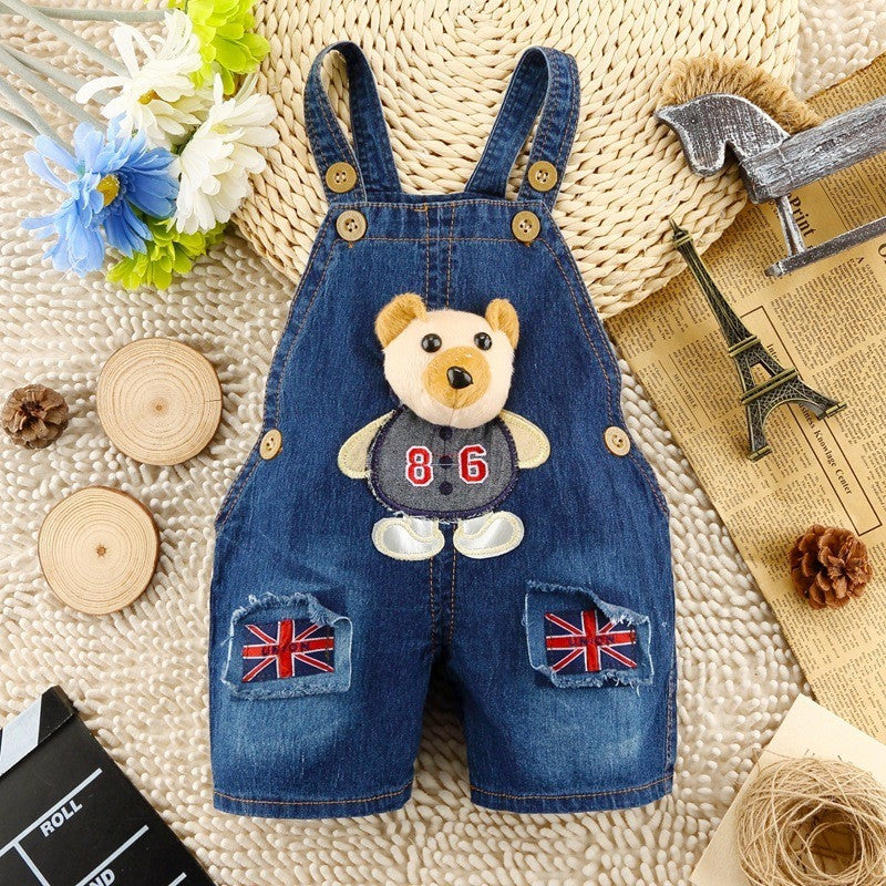 Kids Overall - Bear 3D Jeans Overalls
