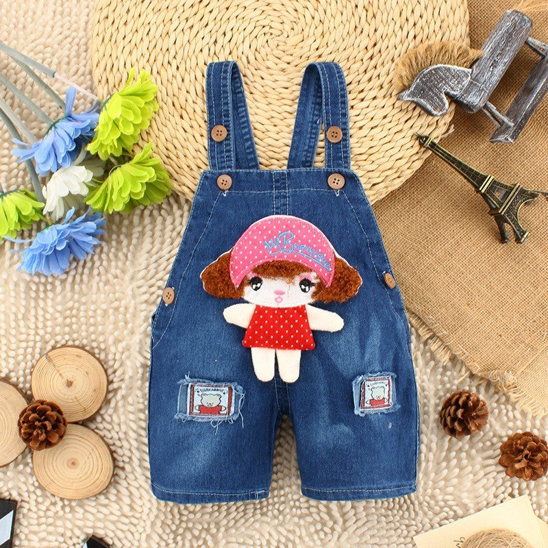 Kids Overall - Little Girl 3D Jeans Overalls