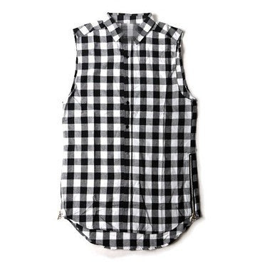 Men Shirt -Plaid Sleeveless GRAY