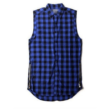 Men Shirt -Plaid Sleeveless BLUE
