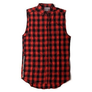 Men Shirt -Plaid Sleeveless RED