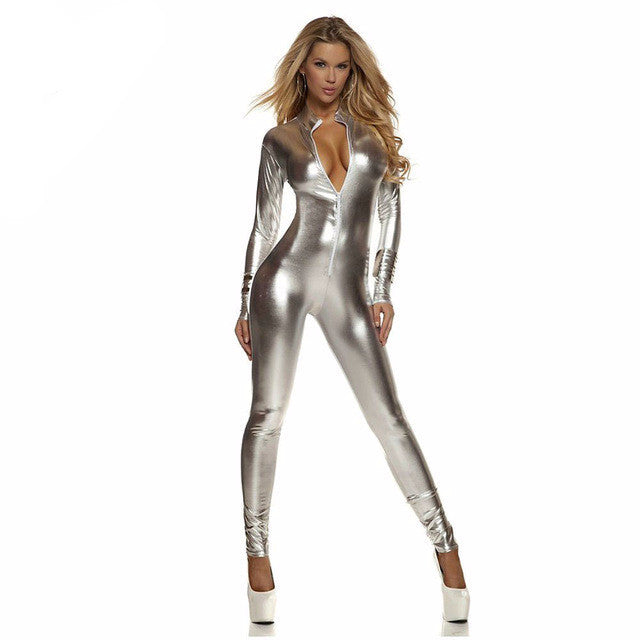 Women Jumpsuit - Shiny Metallic Catsuit